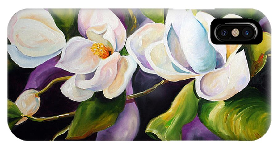 Magnolia Flower IPhone X Case featuring the painting Mother by Laurie Pace