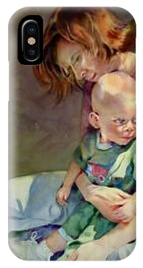 Mother And Child IPhone X Case featuring the painting Mother Love by Marlene Gremillion
