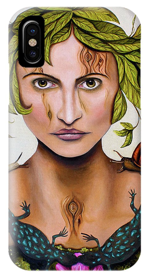Portrait IPhone X Case featuring the painting Mother Nature by Leah Saulnier The Painting Maniac