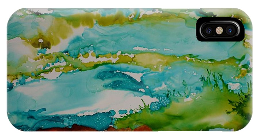 Wave IPhone X Case featuring the mixed media Mother Ocean by Susan Kubes