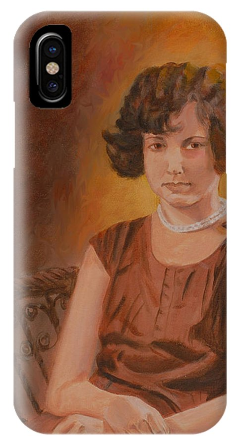 Woman IPhone X Case featuring the painting Mother by Quwatha Valentine