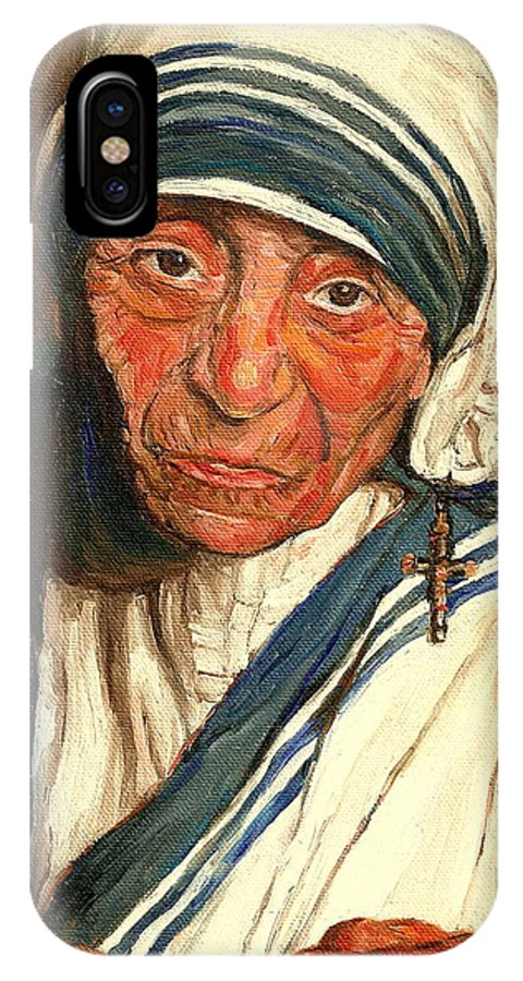 Mother Teresa IPhone X Case featuring the painting Mother Teresa by Carole Spandau