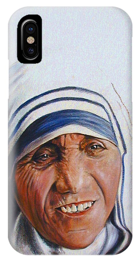 Mother Teresa IPhone X Case featuring the painting Mother Teresa by John Lautermilch