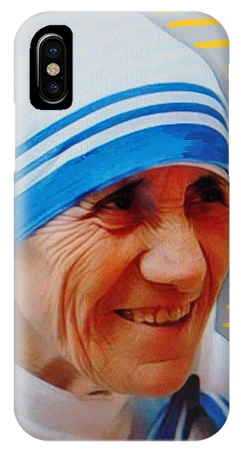 Mother Teresa IPhone X Case featuring the mixed media Mother Teresa by Vesna Antic