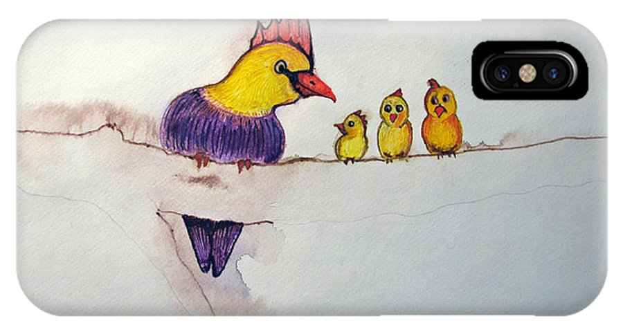 Birds IPhone X Case featuring the painting Mothers Concern by Patricia Arroyo