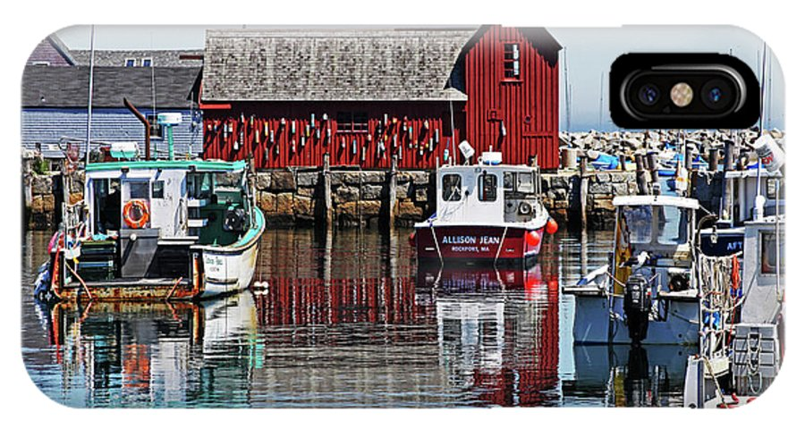 Boats IPhone X Case featuring the photograph Motif #1, Rockport Ma, 1 by James Hoolsema