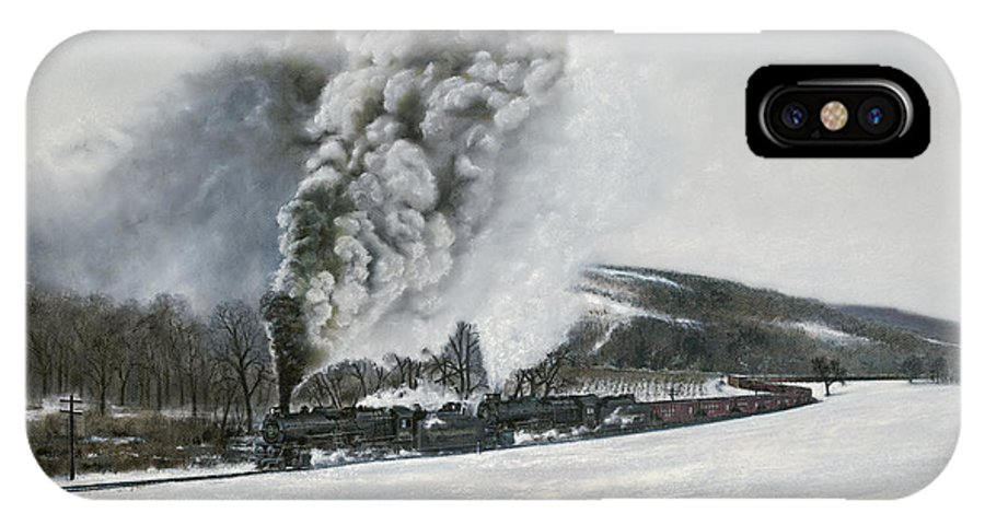 Trains IPhone X / XS Case featuring the painting Mount Carmel Eruption by David Mittner