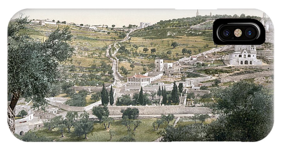 1900 IPhone X Case featuring the photograph MOUNT OF OLIVES, c1900 by Granger