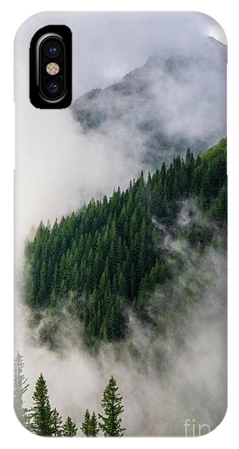 Rainier IPhone X Case featuring the photograph Mount Rainier National Park Clouds And Forest by Mike Reid