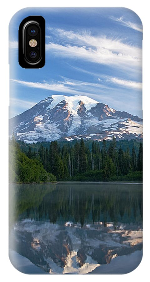 Amazing IPhone X Case featuring the photograph Mount Rainier Reflections by Greg Vaughn - Printscapes