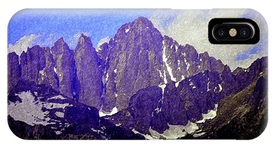 Art IPhone X Case featuring the painting Mount Whitney by David Lee Thompson
