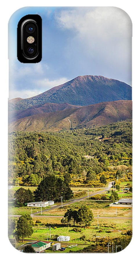 Countryside IPhone X Case featuring the photograph Mount Zeehan Valley Town. West Tasmania Australia by Jorgo Photography - Wall Art Gallery