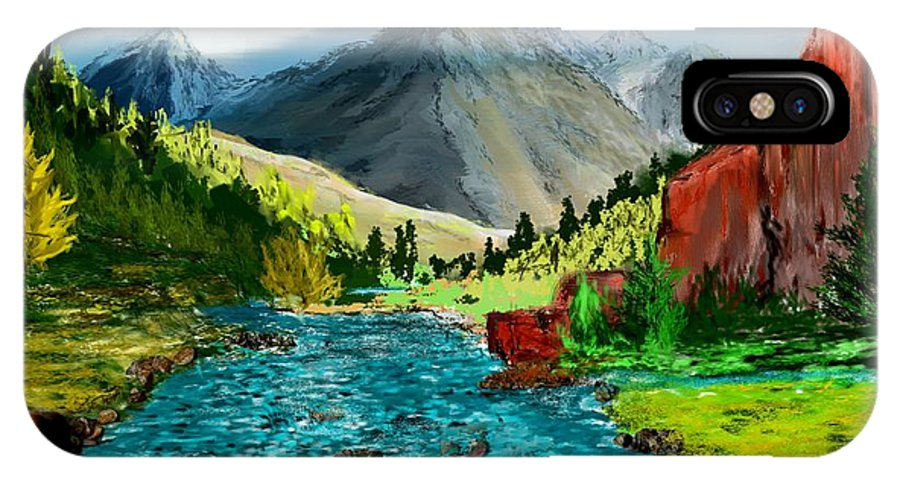 Digital Photograph IPhone X Case featuring the digital art Mountaian Scene by David Lane