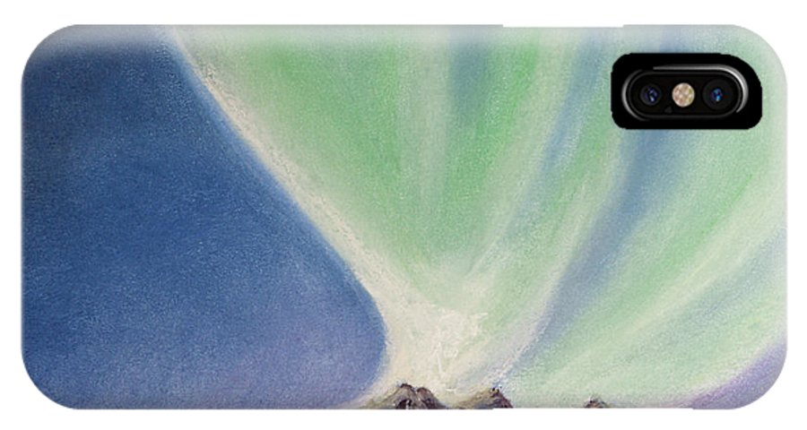 Northern Lights IPhone X Case featuring the painting Mountain Aurora by Stanza Widen