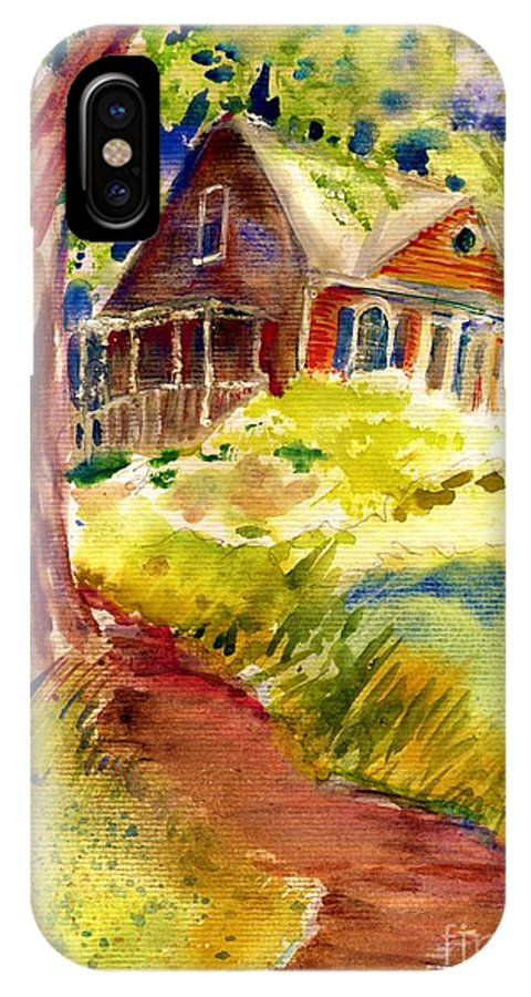 Cabin IPhone X Case featuring the painting Mountain Cabin by Carliss Prosser
