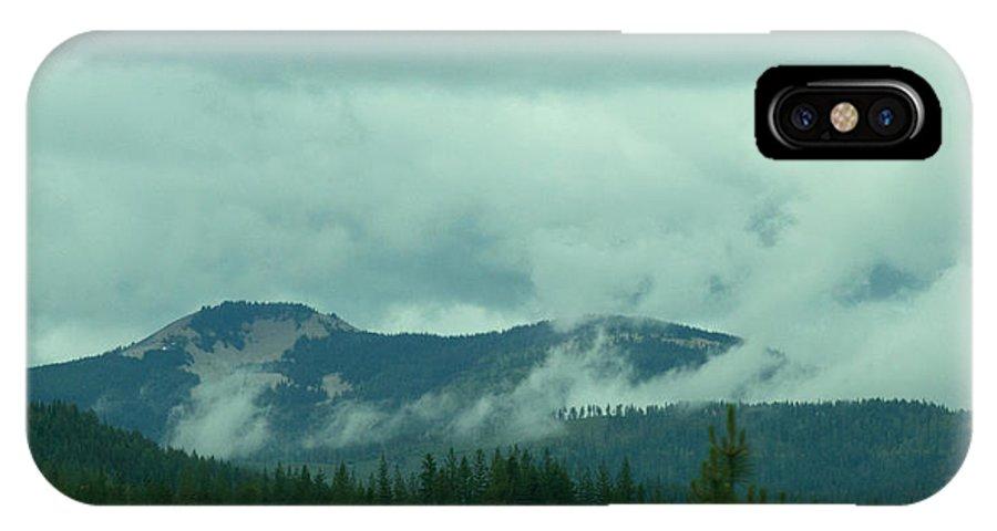 Washington IPhone X Case featuring the photograph Mountain Clouds by Linda Kerkau