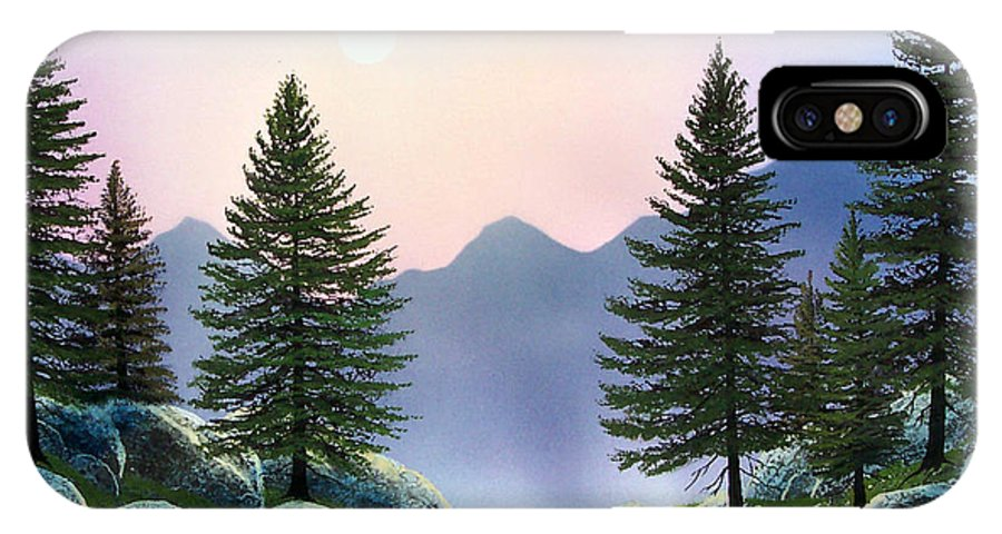 Landscape IPhone X Case featuring the painting Mountain Firs by Frank Wilson