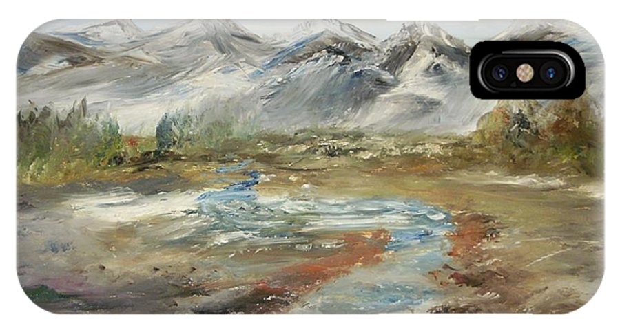 Landscape IPhone X Case featuring the painting Mountain Fresh Water by Edward Wolverton