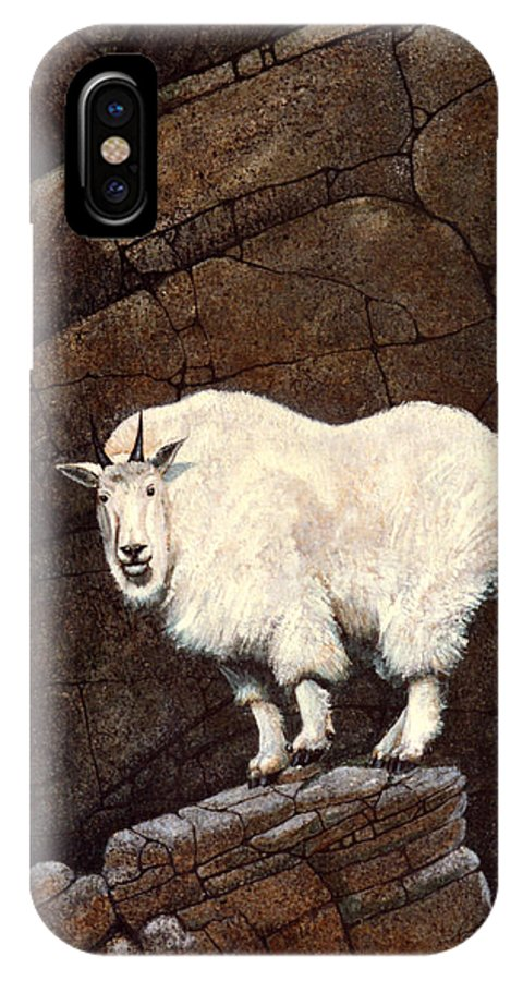 Wildlife IPhone X Case featuring the painting Mountain Goat by Frank Wilson