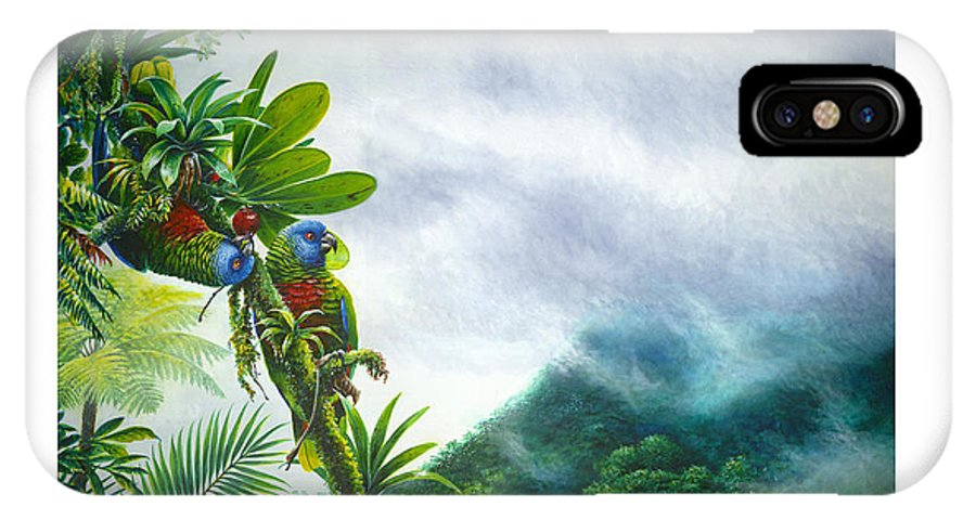 Chris Cox IPhone Case featuring the painting Mountain High - St. Lucia Parrots by Christopher Cox