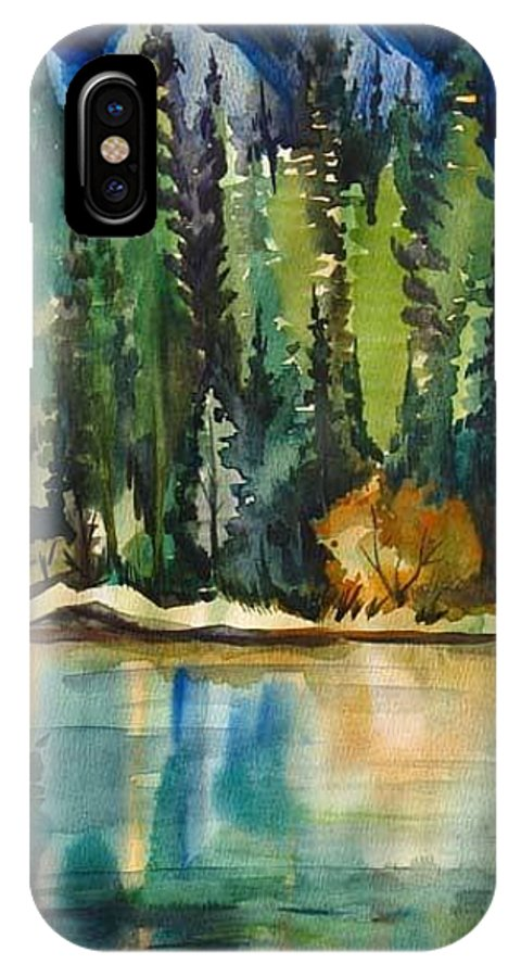 Landscape IPhone X Case featuring the painting Mountain Lake by Anna Duyunova
