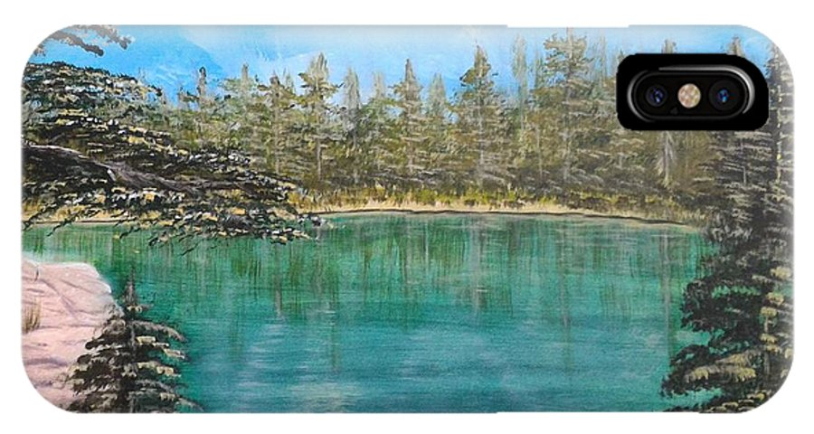 Landscape IPhone X Case featuring the painting Mountain Lake by Martha Sanchez-Hayre