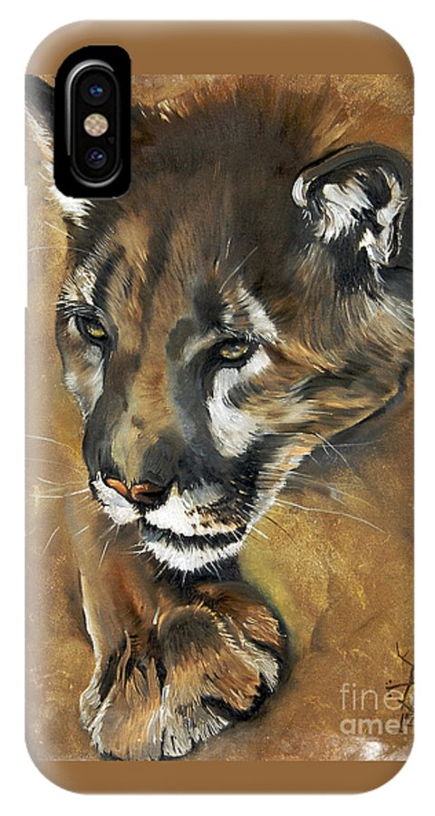 Southwest Art IPhone X / XS Case featuring the painting Mountain Lion - Guardian Of The North by J W Baker