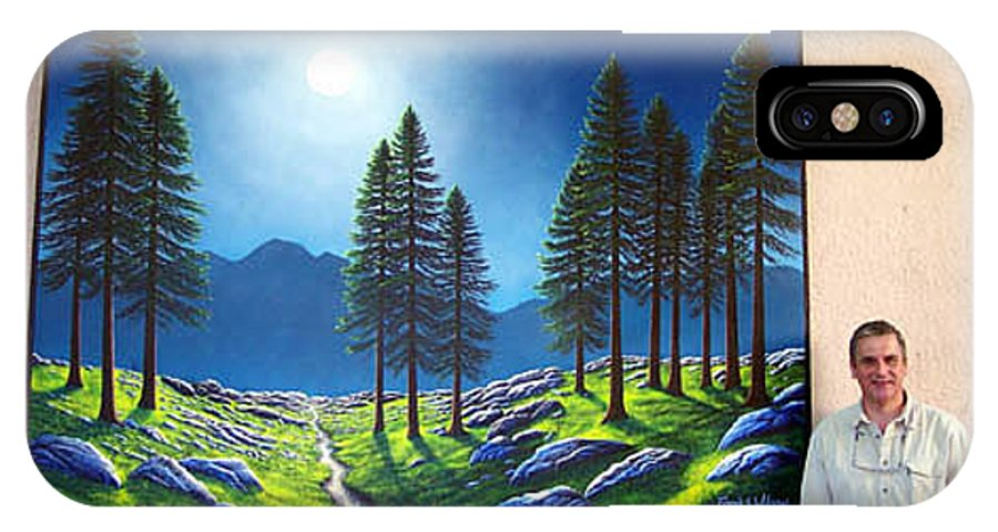 Mural IPhone X Case featuring the painting Mountain Moonglow Mural Winner Of The 2005 Coba Peoples Choice Award by Frank Wilson
