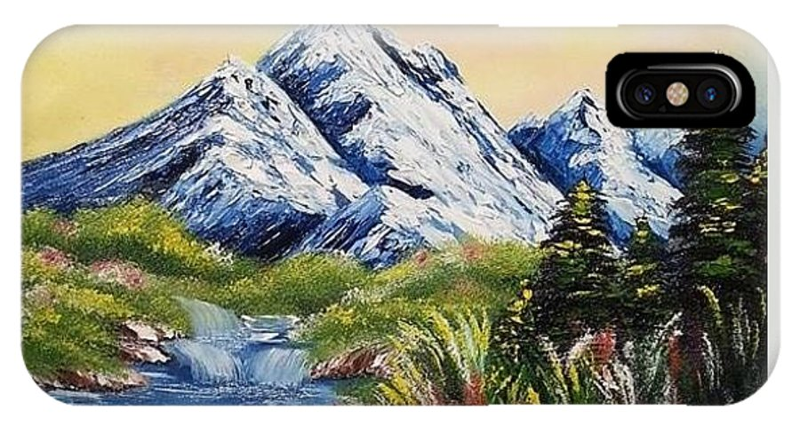 Scenery IPhone X Case featuring the painting Mountain Spring by Nadine Westerveld