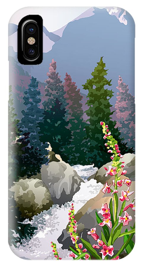 Rocky Mountains IPhone X Case featuring the digital art Mountain Stream by Anne Gifford