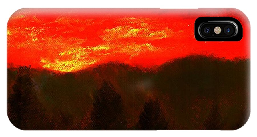 Mountain IPhone X Case featuring the pastel Mountain Sunset by Melvin Moon
