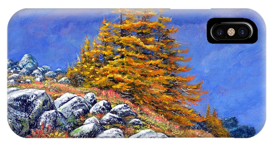Mountains IPhone X Case featuring the painting Mountain Tamaracks by Frank Wilson
