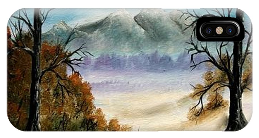 Mountains IPhone X Case featuring the painting Mountains Landscape Oil Painting by Derek Mccrea