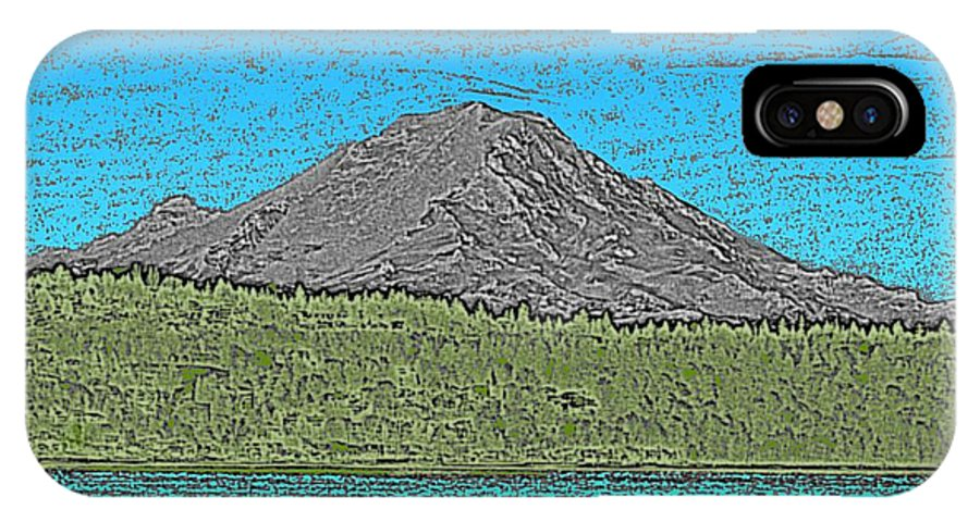 Mountain IPhone X Case featuring the digital art Mountains Majesty by Tim Allen