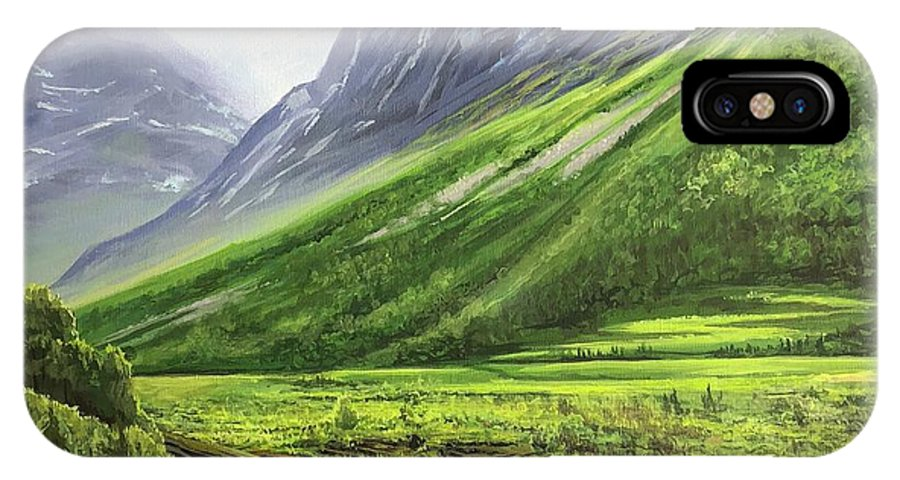 Norway IPhone X Case featuring the painting Mountains of Time by Hunter Jay