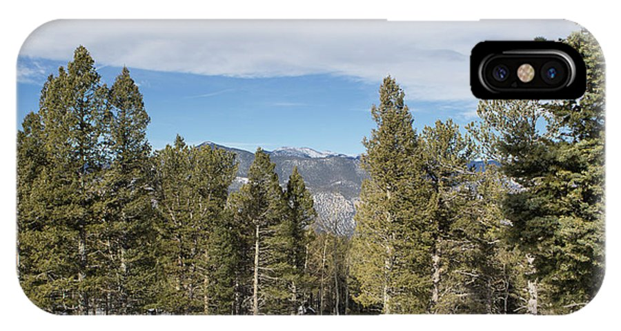 Colorado Springs IPhone X Case featuring the photograph Mountains Through The Trees by Katy Robinson