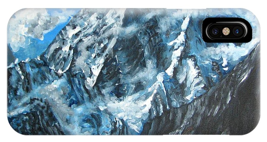 Mountains IPhone X / XS Case featuring the painting Mountains View Landscape Acrylic Painting by Natalja Picugina