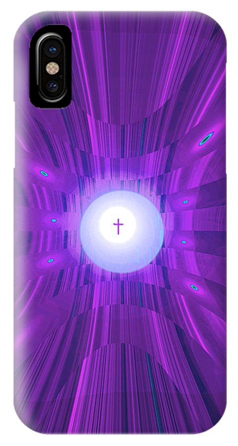 Moveonart! Digital Gallery IPhone X Case featuring the digital art Moveonart Abstract Cross In Purple by Jacob Kanduch