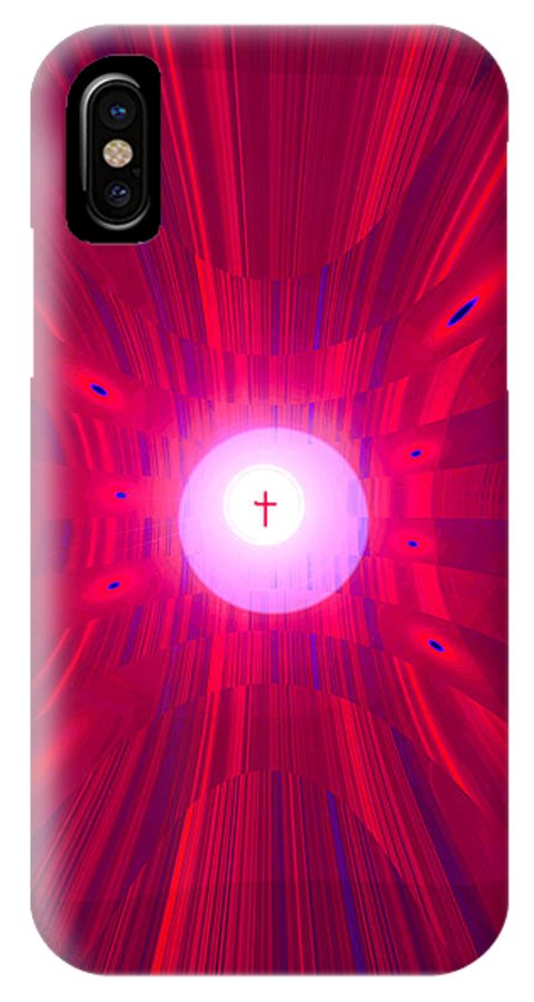 Moveonart! Digital Gallery IPhone X Case featuring the digital art Moveonart Abstract Cross In Red by Jacob Kanduch