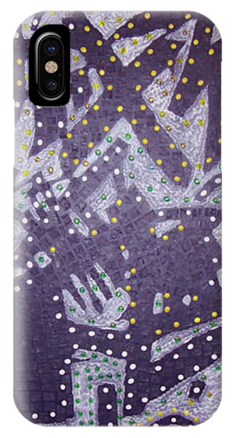 Moveonart! Digital Gallery IPhone X Case featuring the painting Moveonart Ex Communicated by Jacob Kanduch