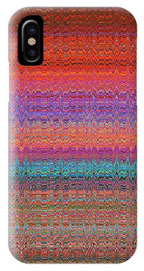 Moveonart! Digital Gallery IPhone X Case featuring the digital art Moveonart Future Indian Voice Wave Quilt by Jacob Kanduch