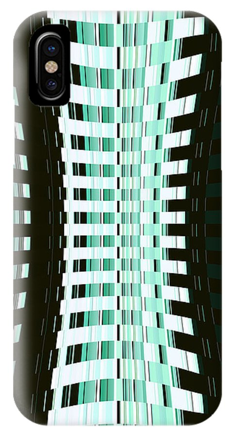 Moveonart! Digital Gallery Lower Nob Hill San Francisco California Jacob Kanduch IPhone X Case featuring the digital art Moveonart Minimal Green Building by Jacob Kanduch