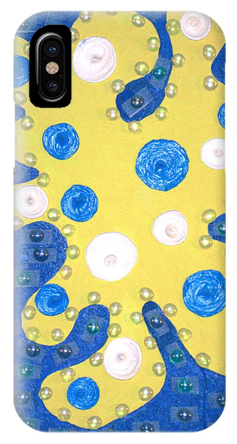 Moveonart! Digital Gallery IPhone X Case featuring the painting Moveonart Yellow Amoeba by Jacob Kanduch