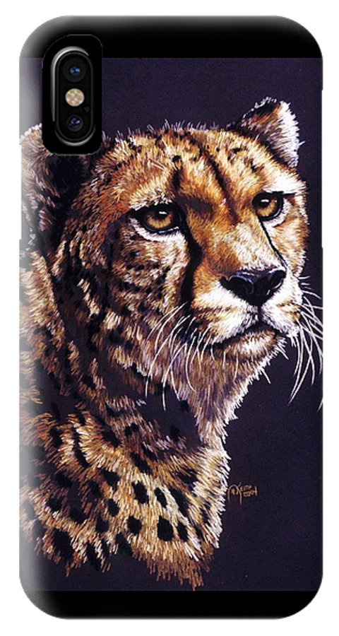 Cheetah IPhone X / XS Case featuring the drawing Movin On by Barbara Keith