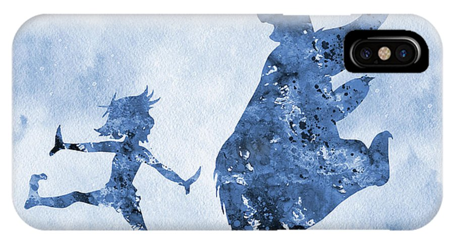 The Jungle Book Inspired IPhone X Case featuring the digital art Mowgli And Baloo-blue by Erzebet S