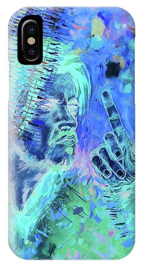 Hr Giger Inverse Alien Guitar Gun Birth Machine Art Kunst Johannes Hoelderl Painting 2017 IPhone X Case featuring the painting Mr. by Johannes Hoelderl