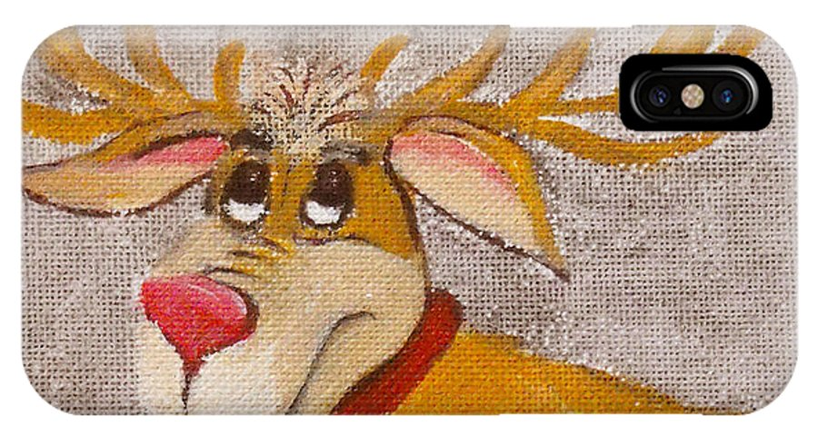 Animals IPhone X Case featuring the painting Mr Reindeer by Ruth Palmer