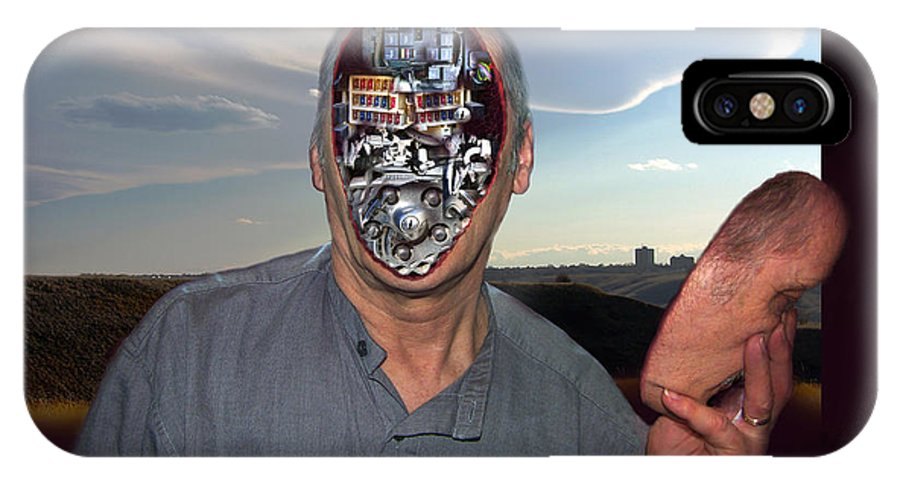Surrealism IPhone Case featuring the digital art Mr. Robot-otto by Otto Rapp