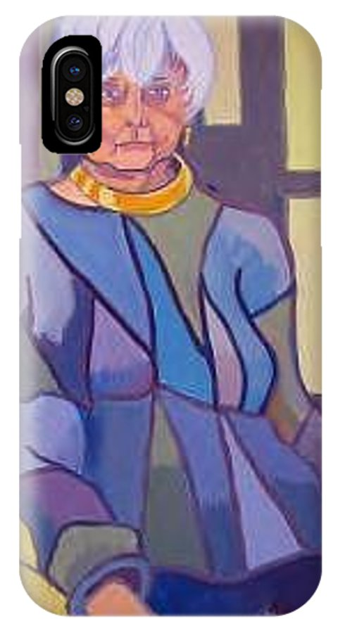 Mature Woman Sitting In A Chair IPhone X Case featuring the painting Mrs. Edith Lipton by Debra Bretton Robinson