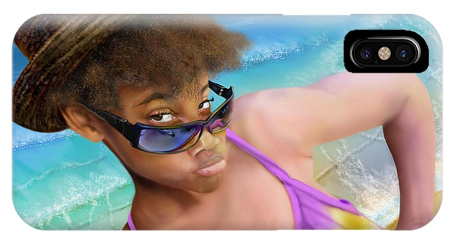 Beach Scene IPhone X Case featuring the painting Ms. Sophie D by Reggie Duffie